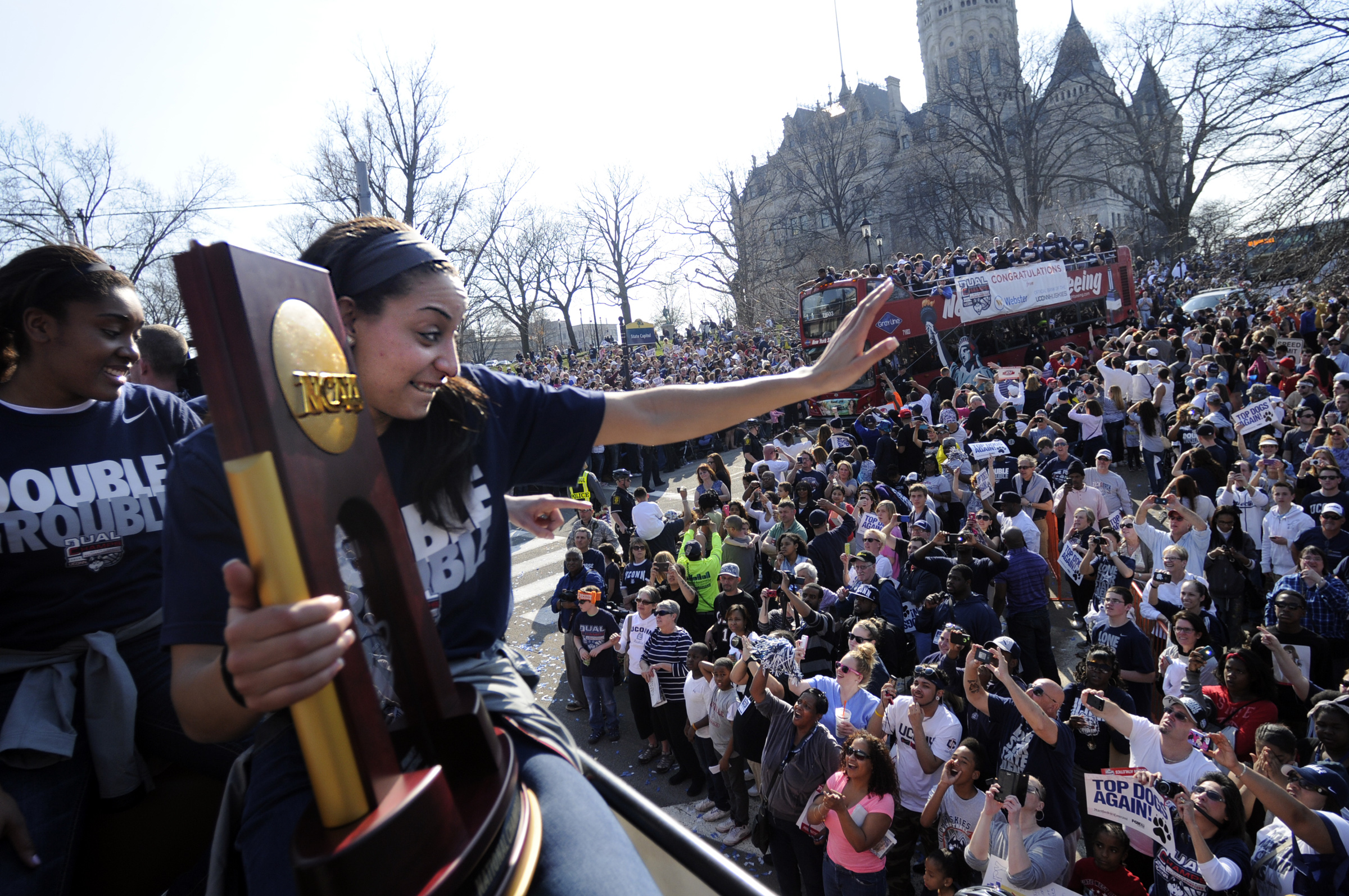 phots from parade and rally for uconn men and women winning national titles in basketball