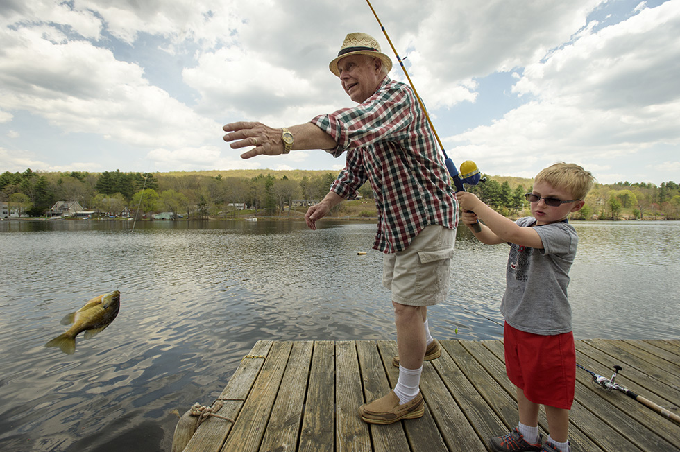 05.08.2015 - Stafford, Ct.  -  Cameron Ravetto, 4, fishes with his grandfather James Ravetto on Staffordville Lake. Photograph by Mark Mirko | mmirko@courant.com
