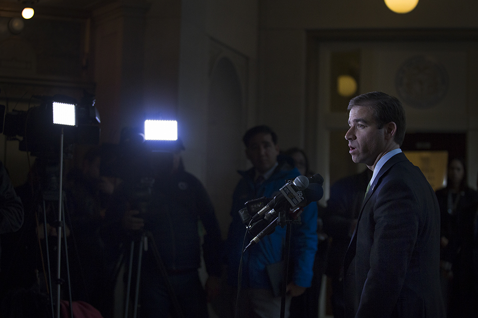 Hartford 01/20/2016 Hartford Mayor Luke Bronin announced a funding package that will get the Dunkin' Donuts Stadium project back on track at Hartford City Hall on Wednesday.  LAUREN SCHNEIDERMAN | lschneiderman@courant.com