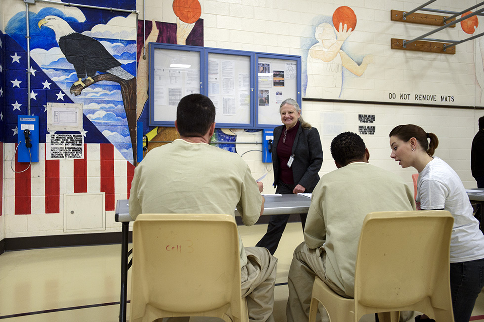 03.29.2016 - Hartford, Ct. - (Left to right)  Linda Bayer and StephanieIvers help inmates inside the Hartford Correctional Center vote in the Hartford Decides participitory budgeting program. Hartford Decides provides Hartford residents the opportunity to choose from over 20 projects funded through $1.25 million in city funds. Hartford residents 13 and over are eligible to vote and the winning proposals will be announced April 2. 216 of the 993 inmates inside Hartford Correctional Center were eligible to vote. Photograph by Mark Mirko | mmirko@courant.com